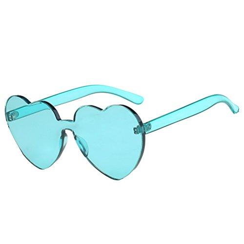 BESTOYARD Herz Sonnenbrille Retro farbige Gläser Brille Herzform Valentinstag Karneval Party Brille für Frauen Männer (Hellgrün)