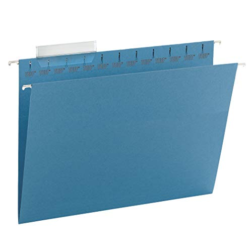 Smead TUFF Hanging File Folder with Easy Slide Tab, 1/3-Cut Sliding Tab, Letter Size, Blue, 18 per Box (64041, Rod Color May Vary)