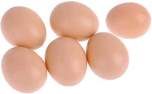 Besthuer Juego de 8 señuelos de huevo de gallina artificial de plástico realista para poner gallina huevos artificiales para pintar huevos de Pascua, juguete de cocina para niños
