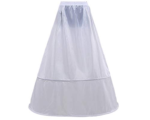 Loywe, Reifrock Petticoat aus Satin, 2 Ringe, Taille Umfang bis 90cm, LW4809-W-N
