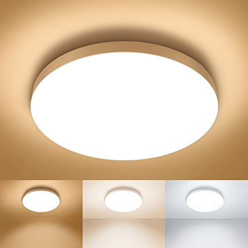 12 inch Flush Mount LED Ceiling Light Fixture, 3 Colors Selectable 3000K/4000K/5000K, Super Bright 2100lm, 24W Round Modern Surface Mounted Flat Ceiling Lamp, Non-Dimmable (18 AWG Wire Recommended)