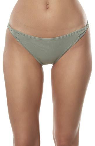 O'NEILL Women's Solid Twist Side Tab Hipster Bikini Swimsuit Bottom (Fog, S)