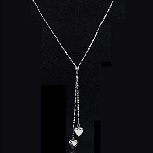 MNMXW Fashion New Stainless Steel Heart Necklace for Women Silver Color Long Chains Necklace Jewelry