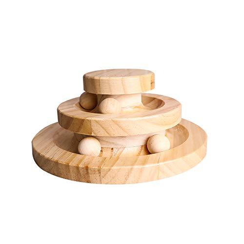 Gelrova Interactive Katzenspielzeug aus Holz, zweilagig drehbar Smart Track Ball Schaukelrolle Geschenke Interaktiv (Hölzern)