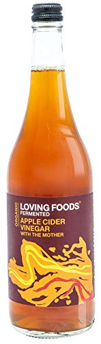 Loving Foods Apple Cider Vinegar With The Mother (750ml) Rauw, Niet-Gepasteuriseerd en Barstensvol Nuttige Levende Bacteriën (1 x Fles)