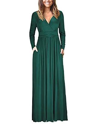 OUGES Womens Long Sleeve V-Neck Wrap Waist Maxi Dress(Green,XXL)