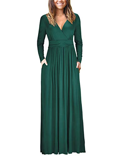OUGES Womens Long Sleeve V-Neck Wrap Waist Maxi Dress(Green,M)