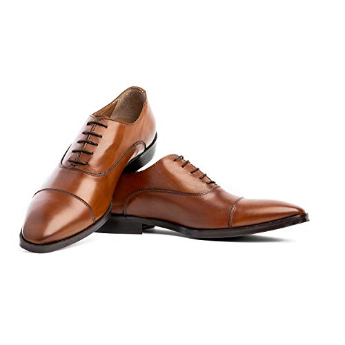 Scarpazzo Men's Dress Shoe, Italian Oxford Leather Formal Shoe Made in Italy, Classic Lace Up Cap Toe Shoes for Men Size 9 - Light Brown