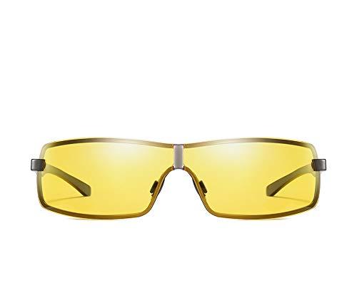 QCSMegy Gafas de sol para hombre de moda con visión nocturna, material de metal, polarizadas, montura negra/montura amarilla, lentes de conducción para hombre (color de pistola)