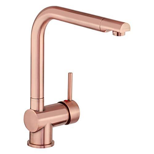 baliv KI-1071 Küchenarmatur in Kupfer-Optik | Schwenkbarer Wasserhahn mit hohem Auslauf für mehr Platz und Bewegungsfreiheit beim Spülen