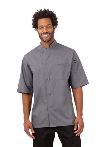 Chef Works Men's Valais V-Series Chef Coat, Dark Gray w/Black Contrast, Large