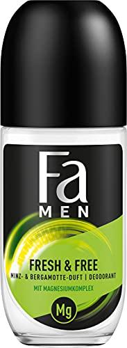 Fa Men Deo Roll-On Fresh & Free Minze-Bergamotte ohne Alkohol, ohne Aluminiumsalze, 48h Schutz, 50 ml