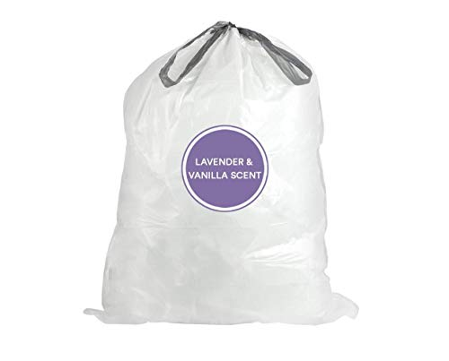 Plasticplace W13DSWHJRLV 13 Gallon White Drawstring Trash Bags │ 1.2 Mil │ Lavender and Soft Vanilla Scented Garbage Can Liners │ 24' x 31' (50 Count)