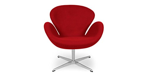 Kardiel Swan Chair, Red Boucle Cashmere Wool