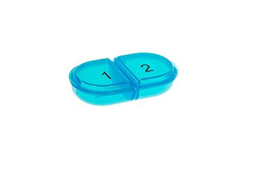 """VANLO Pastillero estable """"DUO"""" con dos compartimentos, color azul 🔥"""