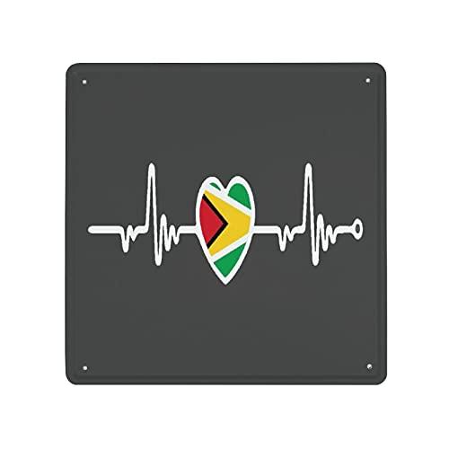 DECISAIYA Retro Blechschild Guyana Flagge Herzschlag Linie Herz Geschenk-Idee für Nostalgie-Fans,aus Metall,Vintage-Dekoration,30x30cm