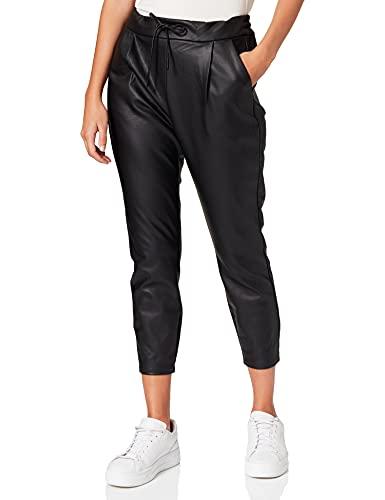 Vero Moda Vmeva Mr Loose String Coated Pant Pantalones, Negro (Black Black), 36/L32 (Talla del Fabricante: Small) para Mujer