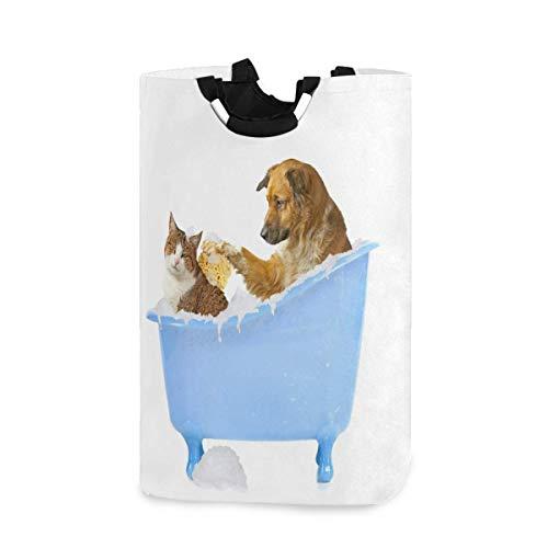 Perros y gatos en la bañera Cesto de la cesta Cesto de la cesta Bolsa de ropa sucia plegable Papelera de lavado Organizador de almacenamiento de juguetes para dormitorios universitarios, dormitorios p