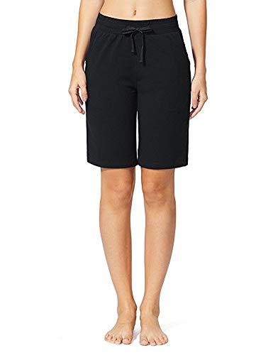 Sudawave Damen Shorts Mit Taschen Bermuda Lockere Lässig Kusrze Hose Freizeithose (Schwarz, S)