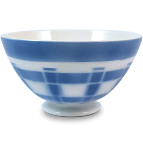 Niderviller Milchkaffee Müsli Schale original Fayence Keramik mit Standfuß groß 50 cl Karos blau