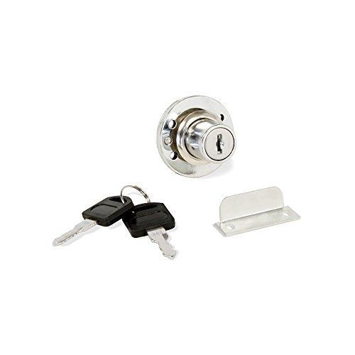 Emuca 1275111 Cerradura de cilindro con 2 llaves y placa de bloqueo para mueble o cajón