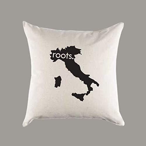 No Brands Stilvoller Kissenbezug mit italienischem Wurzelmotiv, Leinen, Geschenk, Heimdekoration, Einweihungsgeschenk, Ancestery Homeland Pride