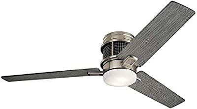 """Kichler 300352NI Chiara 52"""" Hugger Ceiling Fan with LED Lights and Wall Control, Brushed Nickel"""