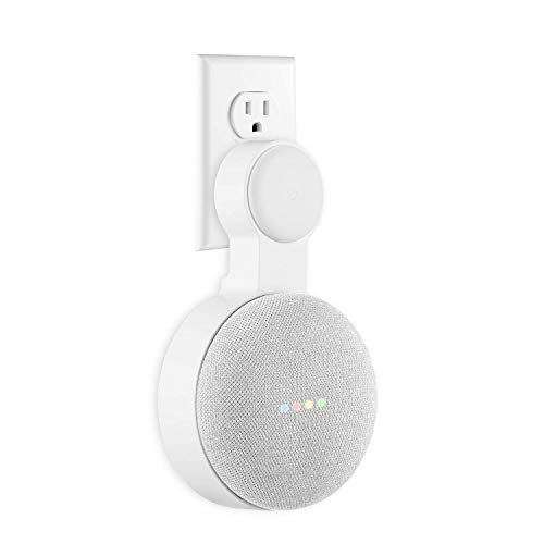 Google Home Mini Wall Mount Holder, Mrount Space-Saving Design AC Outlet Mount, Perfect Cord Management for Google Home Mini Voice Assistant (White, 1 Pack)