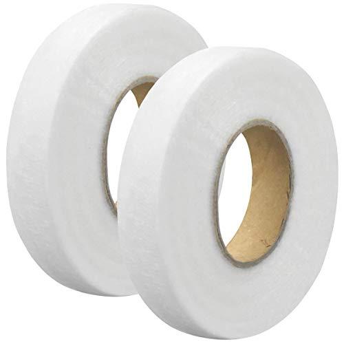 NATUCE 130M Saumband Bügelband, 2 Rollen Klebeband Aufbügelbar, Fixierband Nahtband, für Textilien Hosen Gardinen Vorhänge zum Aufbügeln/nähen, Weiß, zum Aufbügeln oder Nähen (20mm)