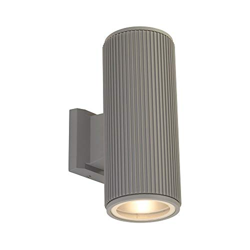 Searchlight Outdoor Up Down - Lámpara de pared para porche (cristal transparente), color gris