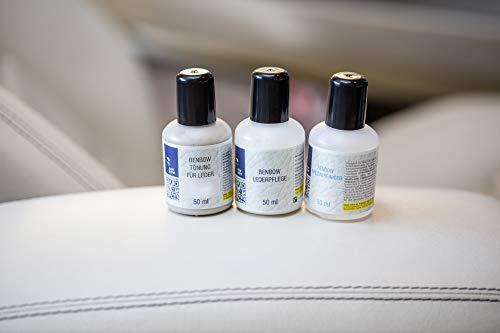 Benbow Leder Smart-Repair-Set Ledertönung Lederfarbe Versiegelung Farbauffrischung Leder Restaurieren 5-teilig Leder 3x50ml Schwamm Tuch BMW Champagner
