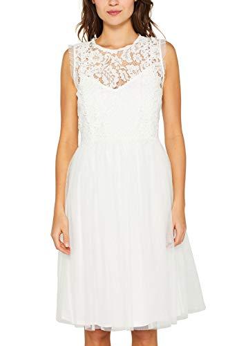 ESPRIT Collection Damen 029EO1E011 Kleid, Weiß (Off White 110), Medium (Herstellergröße: M)