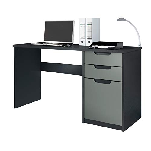 Vladon Escritorio Mesa para computadora Mueble de Oficina Logan, Cuerpo en Negro Mate/frentes en Grafito Satinado