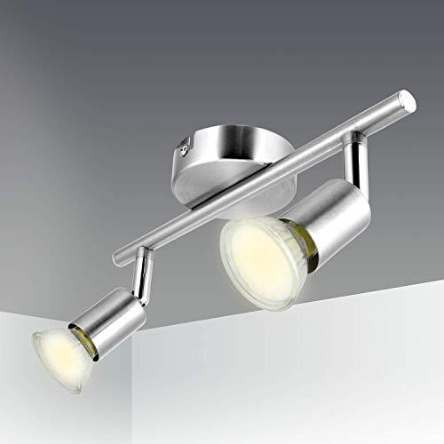 Foco LED para Techo Kimjo, Lámpara de techo LED Plafón con 2 Focos LED GU10 Blanco Cálido 2800k 550LM 82Ra IP20, Focos Ajustables y Giratorios Níquel Mate para Dormitorio, Pasillos, Salas, Cocina