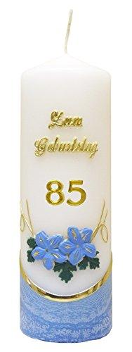 Meissner-Handel Auswahl * Jubiläumskerze/Geburtstagskerze ''Zum 85. Geburtstag'' * blau * mit farbigen Wachsauflagen * (Motiv 002) Auswahl Motiv + Farbe