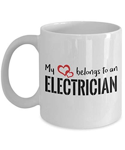 Lawenp Mi corazón pertenece a una taza de café de electricista, blanca, 11 oz - Regalos únicos