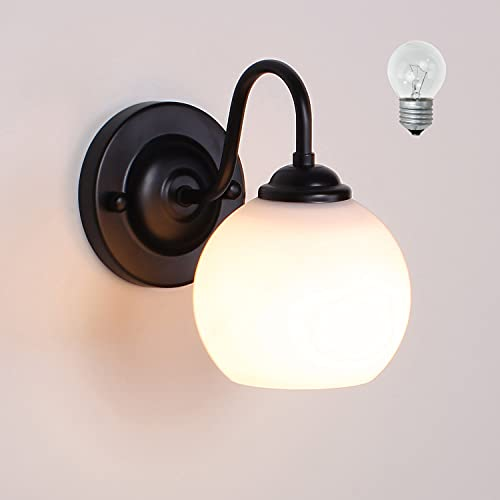 MantoLite Negro Vaso Lámparas de Pared,E27 Edison Bulbs Soporte de lámpara Aplique de Pared Iluminación de Interior Lámparas Lectura de Sala Pasillos Escaleras Luz (Incluir bombilla)