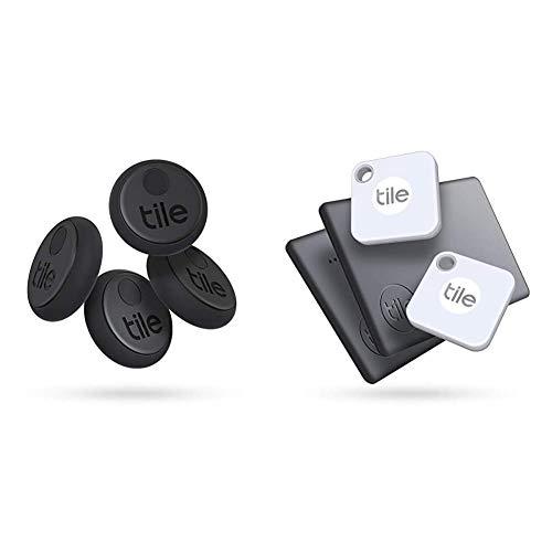 Tile Sticker (2020) Bluetooth Schlüsselfinder, 4er Pack, 45m Reichweite, bis 3 Jahre Batterielaufzeit, schwarz & Mate + Slim Combo (2020) Schlüsselfinder - inkl. Community Suchfunktion