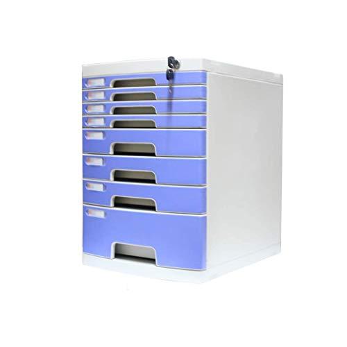 LHQ-HQ Desktop-Fach Sorter 8-Schichten Abschließbare Data Office Speicher-Fach Vertraulichkeit Office Desktop Schublade Organizer Blue (11.8in * 15.8in * 17.2in) (Größe: 8-Schichten) Zeitungsständer