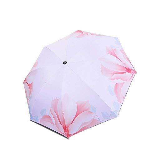 LYMUP Paraguas plegable con impresión de sol y lluvia, protección solar manual plegable 190T 8 refuerzo óseo (color : polen de Begonia)