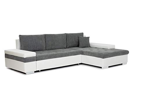 Honeypot - Sofabed - Bangkok - Corner - Large Storage - Sofa Bed - White Grey Black (Right Hand, White/Grey)