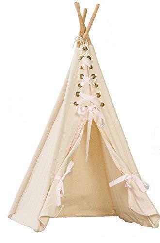 pelzitoys Tipi klein Puppenhaus Prinzessin Zelt für Teddy, Puppe, Kuscheltiere, kleines Spielzelt mit Schleifen in weiß-Natur