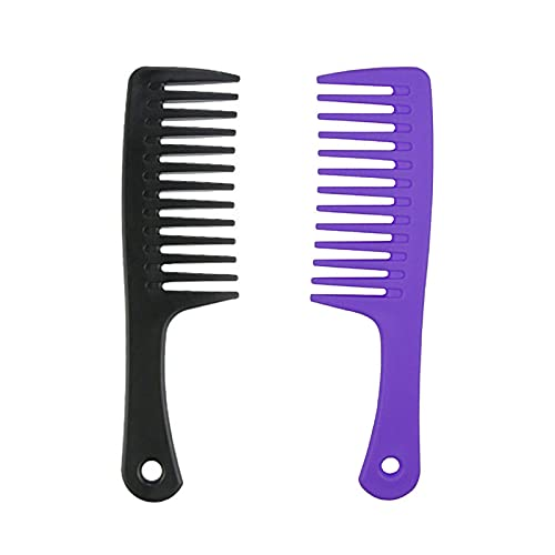Papyon Wide Tooth Comb for Curly Hair Wet Hair Detangler Comb, Durable and Anti - Static, for Women Natural Black Hair Weavy Hair, 2 PCS Include Black and Purple