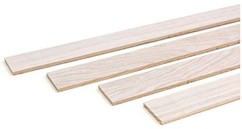 wodewa Holzleiste Wandleiste Eiche Arctic 1m Abschlussleiste Holz 30x4mm Zierleiste für Wandverkleidung Decke Boden Abdeckleiste DIY Basteln