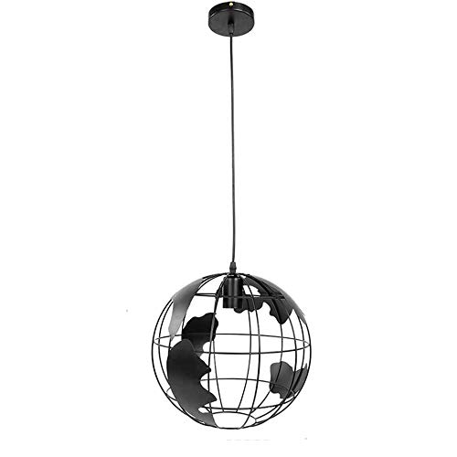 HJXDtech 20cm Globus-Weltkarte Hängeleuchte Industrial Retro Metall Lampenschirm Loft Bar Deckenleuchte Hängelampe für Küche Lounge Restaurants, E27 (Schwarz)