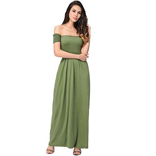 MERICAL Vestido Largo Plisado Largo Maxi de Fiesta de Noche en la Playa de Verano Fuera del Hombro para Mujer(Ejercito Verde,Large)
