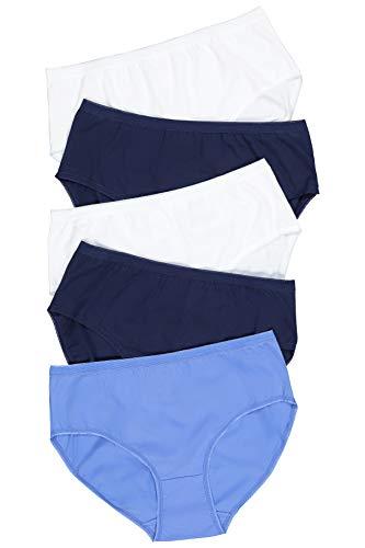 Ulla Popken Damen Slip 5er Pack, Uni Mäusezähnchenkante B Taillenslip, Mehrfarbig (Multicolor 90), (Herstellergröße: 46+)