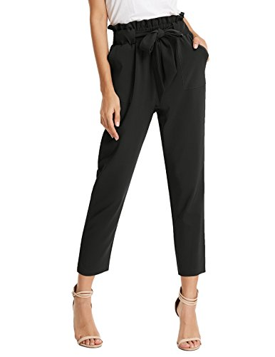 GRACE KARIN Damen Mode Hose Business Hose High Waist Hose Party Hose Lang Hose Schwarz CLAF1011-1_XL