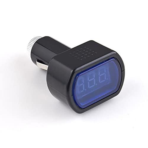 Medidor de voltaje eléctrico Pantalla digital LED universal Encendedor de cigarrillos Medidor de voltaje eléctrico para automóvil Monitor de batería de vehículo Voltímetro Negro - Negro y azul