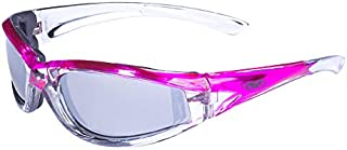 Global Vision Eyewear Flashpoint Sunglasses, Flash Mirror Lens, Two Color Crystal and Pink Frame